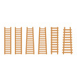 set wooden step ladder classic staircase vector image