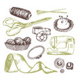 sewing accessories - vintage vector image