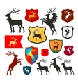 Shield with deer reindeer stag logo Coat vector image vector image