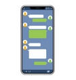 smartphone with sns interface vector image vector image