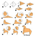 step instructions how to make origami a horse vector image vector image