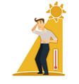 sunstroke and sunburn risk man under burning sun vector image vector image