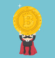 super businessmen who can help bitcoin coins out vector image vector image
