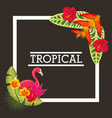 tropical leaves animal card vector image vector image