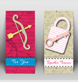 two vertical isolated valentine banner set vector image