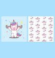unicorn lifts barbell healthy body pattern vector image vector image