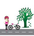 woman exercise and bicycles vector image
