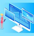 woman studies statistics on screen female vector image vector image