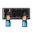 hands in keyboard vector image