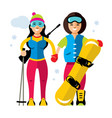 winter sports girl biathlon and snowboard vector image