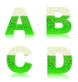 alphabet green beer ABCD vector image vector image