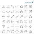arrow line icons vector image vector image