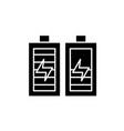 battery charging black icon sign on vector image vector image