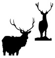Black silhouettes of deer on a white background vector image