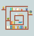 book shelf and stationary flat design back to vector image vector image