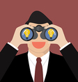Businessman use binoculars looking for business vector image vector image