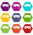 carnival mask icon set color hexahedron vector image vector image