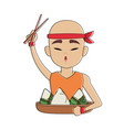 chinese man eating rice vector image vector image