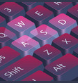 computer gamer keyboard closeup highlight wasd vector image vector image