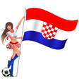 croatian girl fan rejoices in victory soccer and vector image