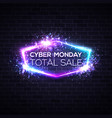 cyber monday concept banner in neon style vector image vector image