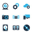 electronics icons colored set with technology cd vector image