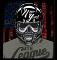 football player skull t shirt graphic design vector image vector image