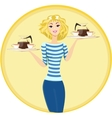 Girl Waitress Carrying a Tray with Cups of Coffee vector image