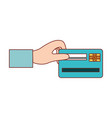 hand holding a credit card in colorful silhouette vector image
