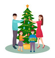 happy family decorates christmas tree mother vector image