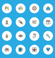 happy icons colored line set with clink glasses vector image vector image