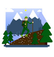 hiking in the mountains a happy tourist conquers vector image vector image