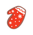 holiday gingerbread in shape of winter mitten vector image