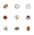 Junk food icons set pop-art style vector image