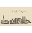 Kuala Lumpur skyline engraved hand drawn sketch vector image vector image