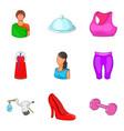 ladylike icons set cartoon style vector image vector image