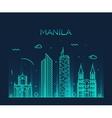 Manila skyline trendy linear vector image vector image