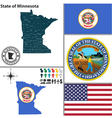 Map of Minnesota with seal vector image vector image