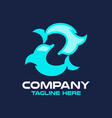 modern dolphin and letter z logo vector image vector image