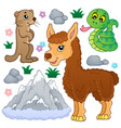 mountain animals theme collection 1 vector image