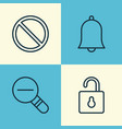 network icons set collection of bell zoom out vector image vector image