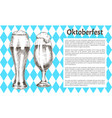 oktoberfest poster pair beer goblet with foamy ale vector image