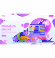 online education webpage template flat vector image