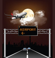 overhead airport gantry sign vector image vector image