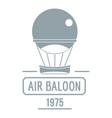 retro air balloon logo simple gray style vector image