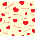 romantic seamless texture with red hearts vector image