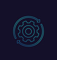 rotation linear icon with cogwheel vector image vector image