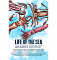 sea life poster of undewater sketch animals vector image vector image