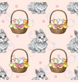 seamless pattern with easter rabbits and baskets vector image vector image