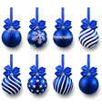 Set of realistic blue christmas balls vector image vector image